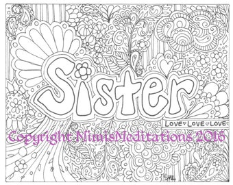 "Adult Coloring Page ""Sister"""