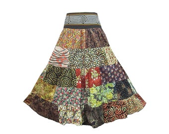 Boho Hippie Cotton Patchwork 5-Tier Broomstick Skirt  (M0679P)