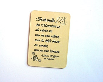Fridge magnet with quote by Goethe