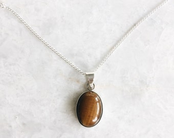 Tiger eye pendant necklace, Sterling silver minimal tiger eye necklace, Silver stone necklace, Boho necklace (SCH19)