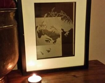 Audrey Hepburn glass etched portrait.