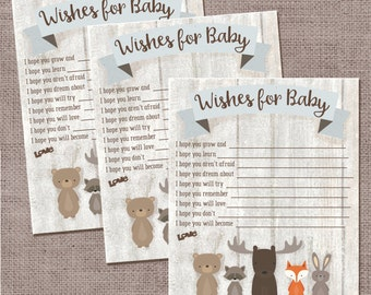 Wishes For Baby, Whitewash Woodland Animal Baby Shower
