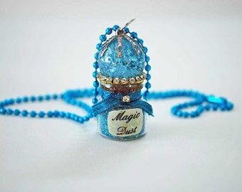 Magic Dust Necklace, Fairy Dust Necklace in Bright Blue