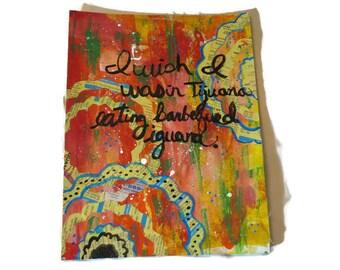 "Wall of Voodoo's Mexican Radio inspired mixed media by Linda Wallace 9 1/2"" x 12"" art ~ colorful art ~ fun art ~ wall art ~ birthday gift"