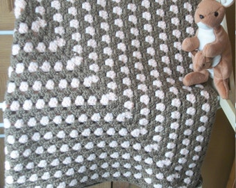 Peach and Brown Crocheted Baby Blanket