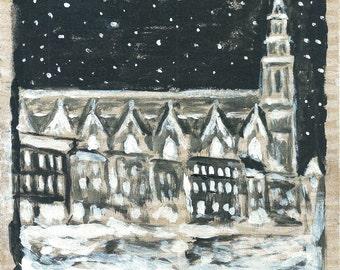Print. Wood. St. John's Church, Gouda. Christmas. Snow.