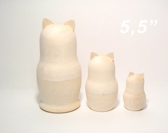 Unpainted Blank Wooden Matryoshka,Blank Wooden Nesting Doll set Cats with ears 3 pcs