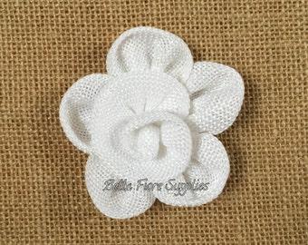 White Burlap Flowers, Burlap Flowers-3 inches, Burlap Flowers, Wedding Supply, Burlap Rose