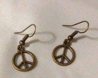 Antique Bronze Peace Sign dangle Earrings