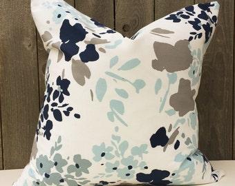Blue Gray White Decorative Pillow Cover