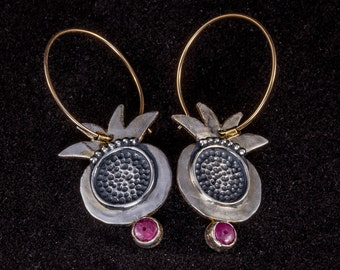 pomegranate Sterling silver earrings, Oxidized silver earrings,ruby silver earrings,hoop silver earring,pomegranate earrings,