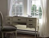Vintage antique writing desk painted white wood shabby chic secretary