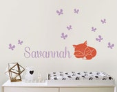 Name Decal with fox, Custom Name Decal Nursery or Kids room - Personalized Wall Decal and Wall decor