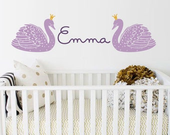 Swan and Name Decal, Custom Name Decal Nursery or Kids room - Personalized Wall Decal and Wall decor