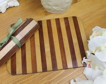 Vintage/Antique Military Officer Table Mats/Wooden Place Mats, WW1 Rolled Mats/ SALE