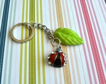 Lady Bug and Leaf Key Chain Polymer Clay Charm