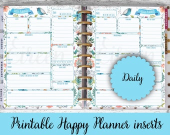 Happy Planner Printable Pages, Daily Planner, Daily Printable, Happy Planner Printable Inserts, Refills, Blue Bird, PDF Instant Download