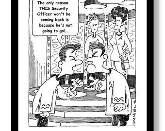 Downloadable Star Trek Humorous Cartoon - Not Coming Back, art, print, drawing, illustration