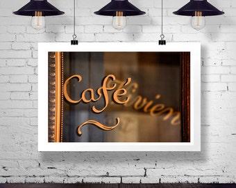Photographie de café de Paris, café de Paris, art de mur Français, grand mur estampes, romantique, Paris tirages, impression Français, photos de Paris, art or