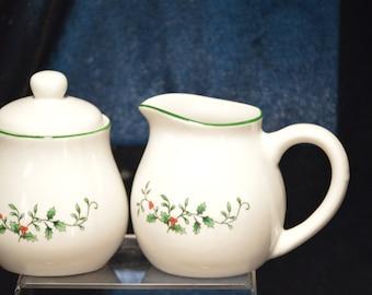 Royal Seasons Stoneware Christmas Sugar & Creamer Set Vintage Item #1425