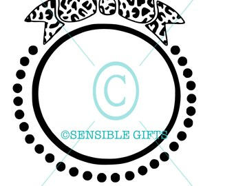 Leopard Bow Monogram Circle SVG
