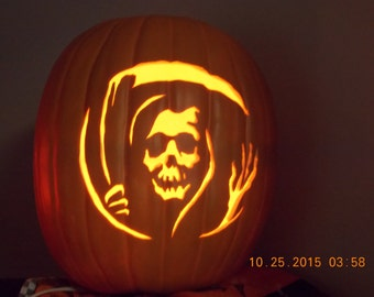 "Grim Reaper 13"" Foam Carved Pumpkin"