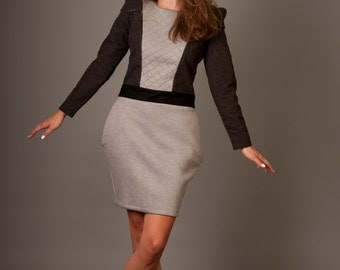 Long sleeve gray dress, wool dress, casual woman dress