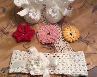 crochet pattern for baby's headband and booties, christening headband and booties, interchangeable flower headband, infant headband,