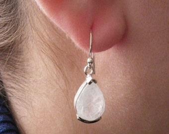 Rainbow Moonstone Earrings - Genuine Drop Moonstone Earrings - Birthstone Earrings - Moonstone Dangle Earrings