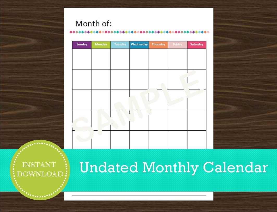 Weekly Calendar Undated : Undated monthly calendar portrait printable and