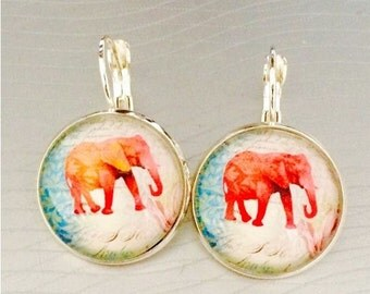 Earrings cabochon elephant red and white