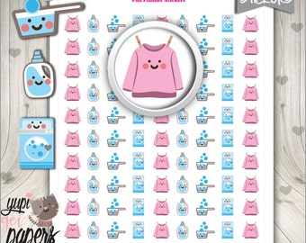50%OFF - Laundry Stickers, Printable Planner Stickers, Use in Erin Condren, Basket Stickers, Hanger, Planner Accessories, Cute Stickers
