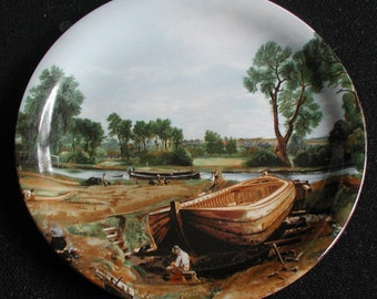 "Wood & Sons England ""Boat Building Near Flatford Mill"" John Constable Scene Collectable Plate"