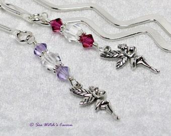 Swarovski Bookmark with Fairy Charm   Unique Bookmark   Cute Book Marks   Book Lover Gift Idea   Bookmarks for Bookworms   Fuchsia, Lavender