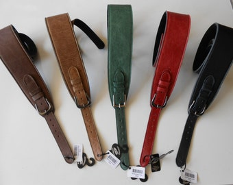 """UK MADE 2.75"""" Softee Adjustable Buckle Padded Leather Guitar Strap - 5 COLOURS - Antique Black,Honey,Brown,Red & Green"""