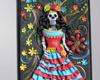 Polymer Clay Day of the Dead Girl Writing Journa