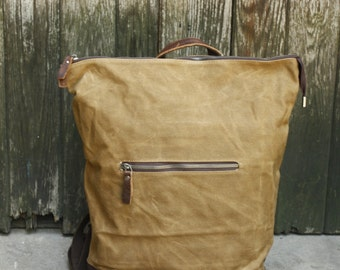 Top-Zipper Waxed Canvas  with Leather Backpack (Khaki)