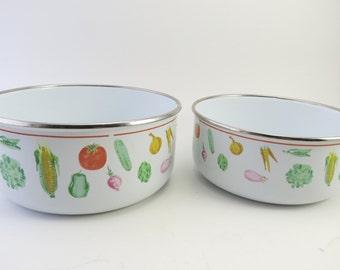Set of Two Pastel Vegetable Enamel Bowls 1970s