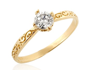 Solitaire Diamond Engagement Ring, 14K Yellow Gold Ring, Engraved Ring, Solitaire Ring, Vintage Style Rings