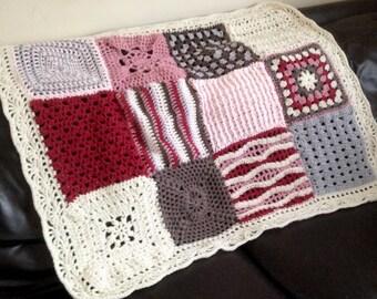"Crochet blanket, crochet afghan/throw, granny square, cot blanket, handmade, baby blanket, pink, brown & cream, crochet lapghan 34"" x 42"""