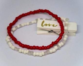 Red and White Beaded Bracelets Happiness Love Boho