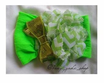 Green stripe Flower headband