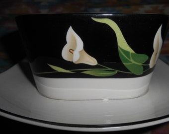 Sango Quadrille 5101 Black Lilies GRAVY BOAT With UNDERPLATE White and Black