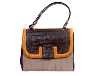 Maria bag in crocodile and ostrich