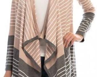 SALE Striped Asymmetrical Open Knit Cardigan