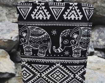 Indian Elephant Black and White Fabric Passport Cover Sleeve