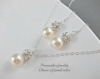 Bridal jewelry, Bridal necklace with earrings, Wedding bridal part gift, Swarovski Champagne ivory white pearls Classic wedding jewelry set