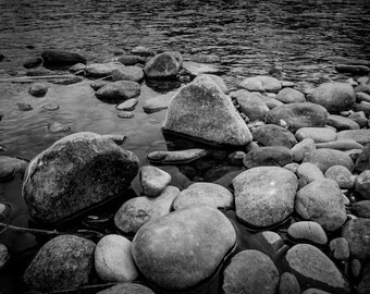 River Rocks, Nature Print, Black and White Photography, Photo Wall Art, Photographic Print, Fine Art