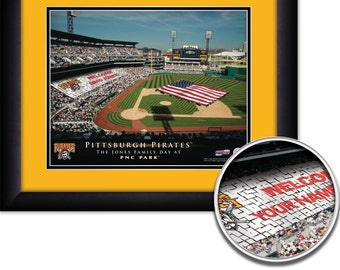 "Pittsburgh Pirates MLB Baseball Personalized Card Stunt American Flag 15""x18"" Framed Art Print  Free Shipping"