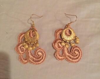 Vintage handmade lace earrings